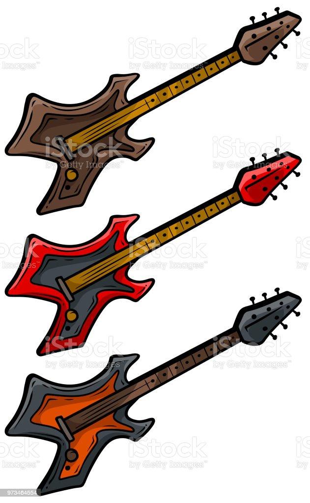 Ilustración De Dibujos Animados De Colores Set De Guitarra Eléctrica