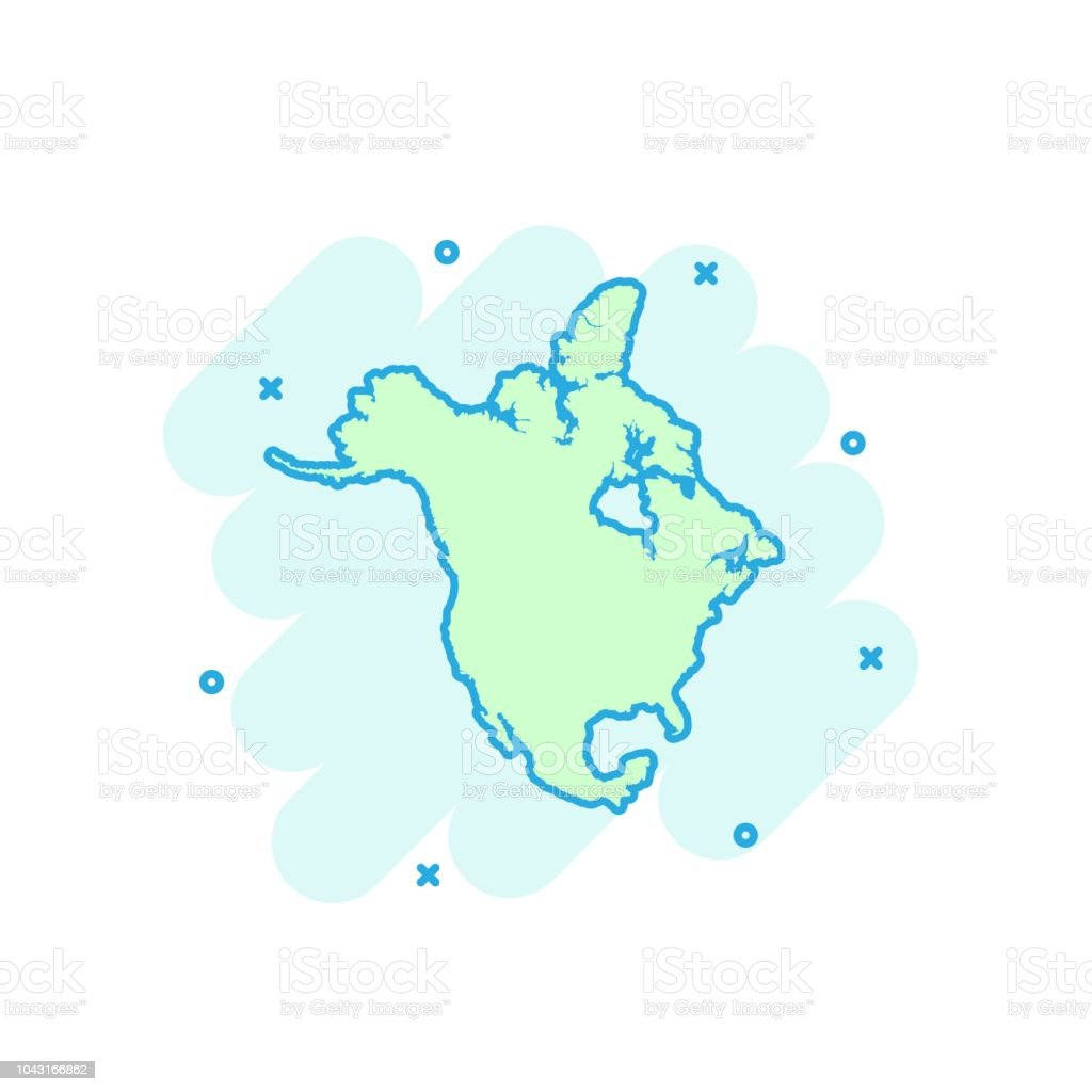 Cartoon Colored North America Map Icon In Comic Style North America Sign Illustration Pictogram Country Geography Splash Business Concept Stock Illustration Download Image Now Istock