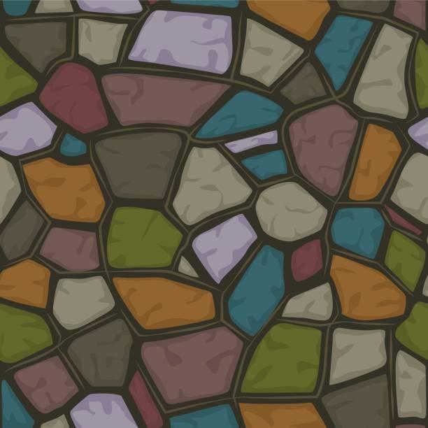 cartoon-farbhintergrund stein nahtlose textur muster set6 - kieselmosaik stock-grafiken, -clipart, -cartoons und -symbole