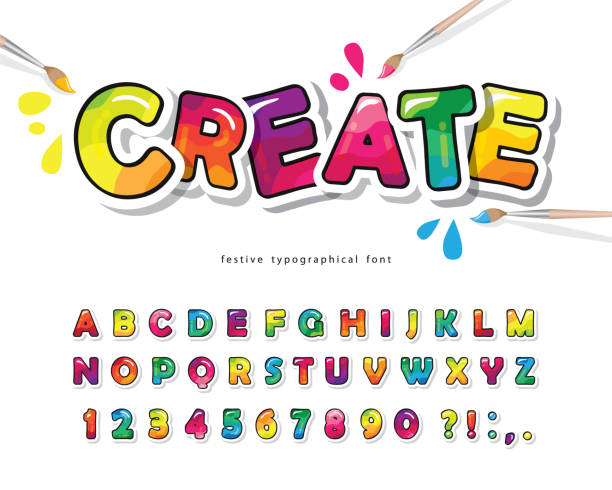 cartoon colorful font for kids. creative paint abc letters and numbers. bright glossy alphabet. paper cut out. for posters, banners, birthday cards. vector - bubble fonts stock illustrations