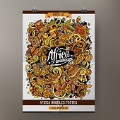 Cartoon colorful hand drawn doodles Africa poster template. Very detailed, with lots of objects illustration. Funny vector artwork. Corporate identity design.