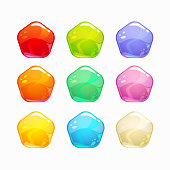 Cartoon colorful jelly candies set