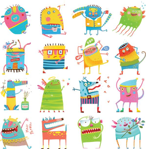 cartoon colorful monsters for kids big collection - cartoon monsters stock illustrations, clip art, cartoons, & icons