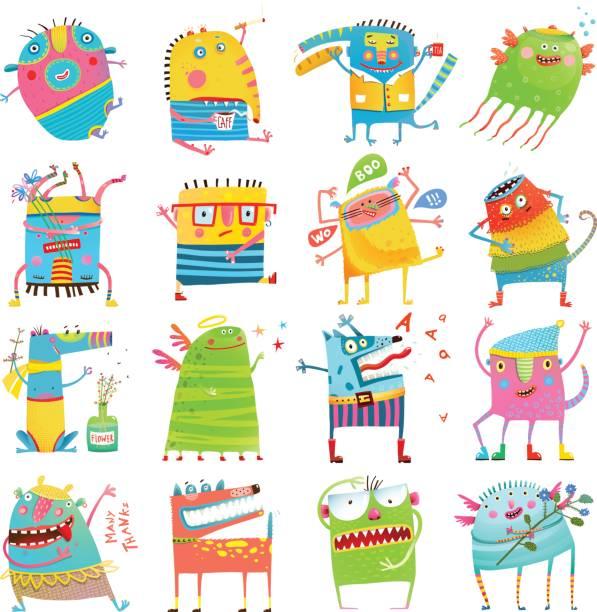 Monstruos coloridos dibujos animados para niños gran colección - ilustración de arte vectorial