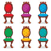 cartoon colorful Retro chair