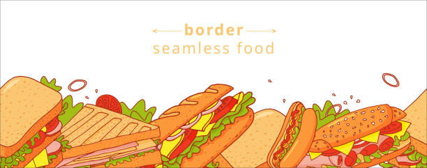 Cartoon colorful seamless pattern of appetizing sandwichs. For textile, wrapping paper, banners, background, wallpaper. Cartoon colorful seamless pattern of appetizing sandwichs. Nice fastfood pattern for textile, cafe and restaurant wrapping paper, covers, banners, background, wallpaper. bread borders stock illustrations