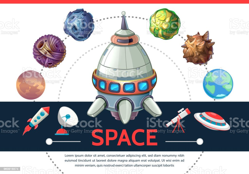 Cartoon Colorful Space Template - Royalty-free Art Product stock vector