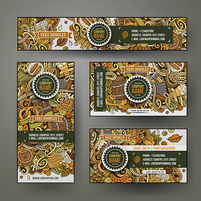 Cartoon colorful vector doodles Beer fest corporate identity set.