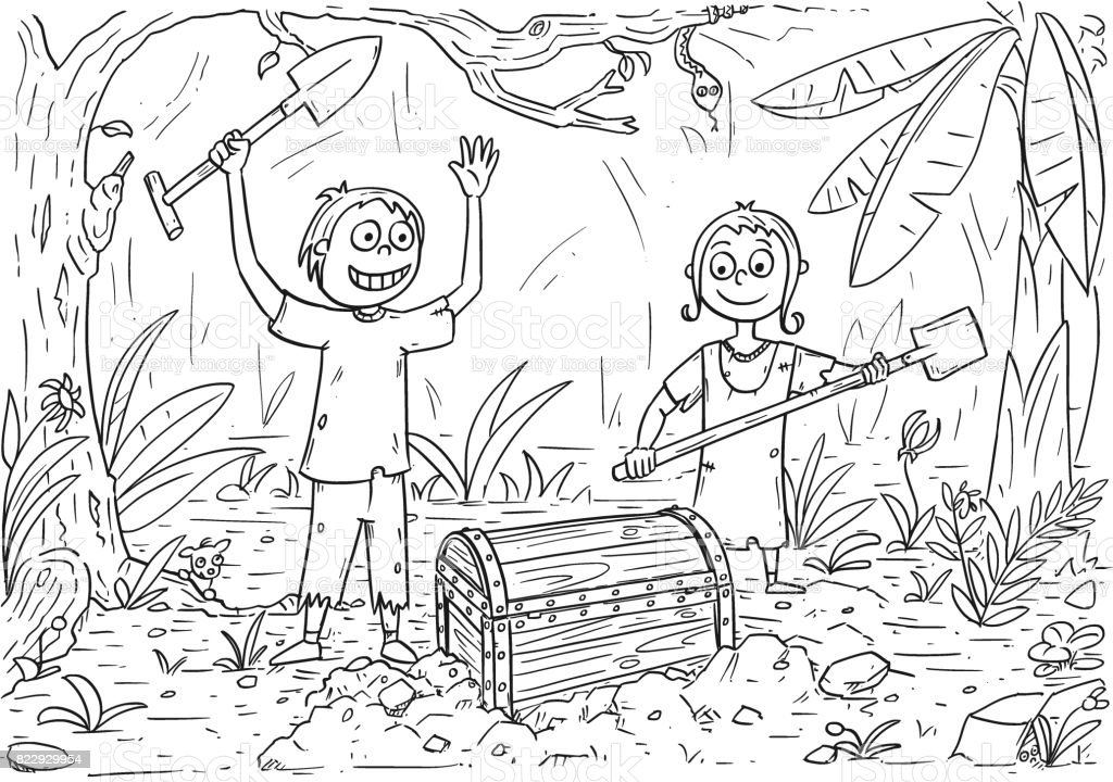 Buku Mewarnai Kartun Dengan Anak Lakilaki Dan Perempuan Ditemukan Peti Harta Karun Ilustrasi Stok Unduh Gambar Sekarang Istock