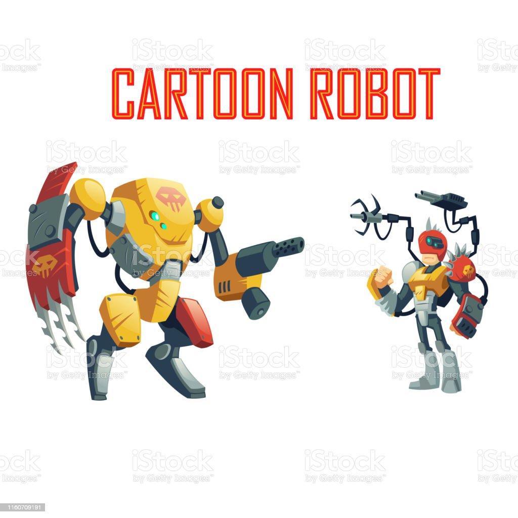 Vetores De Robos Do Combate Dos Desenhos Animados Para O Papel Que