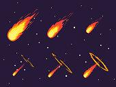 Cartoon Comet Effect Stages Set. Vector
