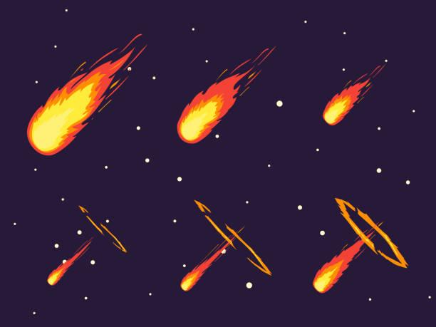 Cartoon Comet Effect Stages Set. Vector vector art illustration