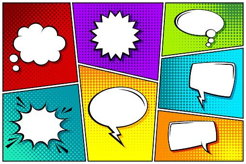 Cartoon comic backgrounds set. Speech bubble. Comics book colorful poster with halftone elements. Retro Pop Art style. Vector illustration