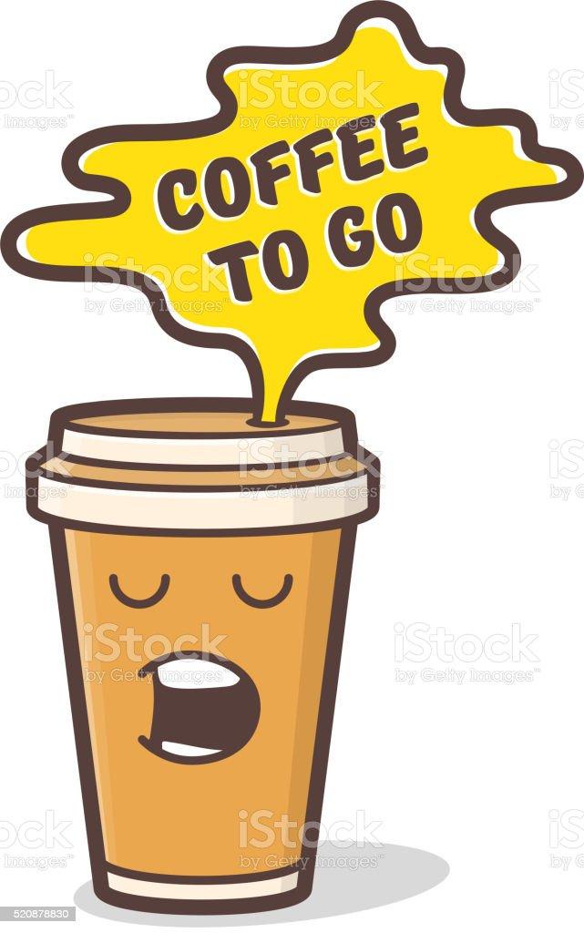 Cartoon comic coffee cup. Vector illustration. vector art illustration