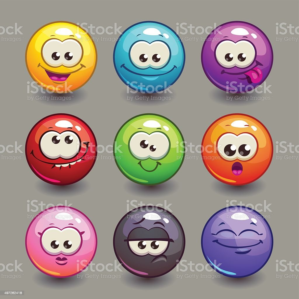 Cartoon comic round faces set vector art illustration