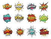 istock Cartoon comic sign burst clouds. Speech bubble, boom sign expression and pop art text frames vector set 1188209079