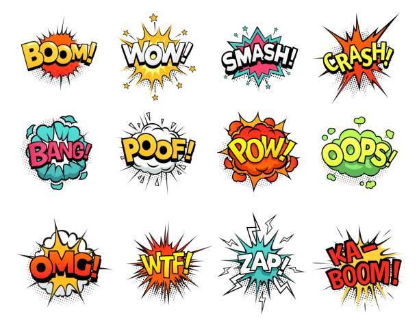 ilustrações de stock, clip art, desenhos animados e ícones de cartoon comic sign burst clouds. speech bubble, boom sign expression and pop art text frames vector set - super hero