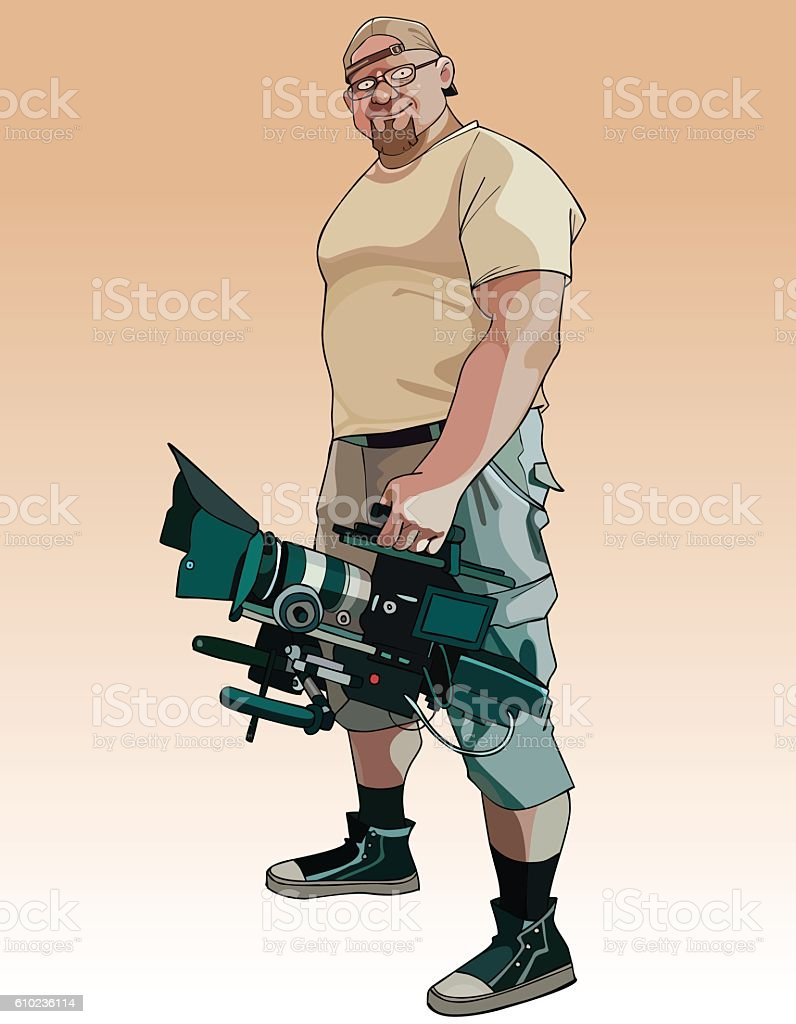 cartoon comical male videographer with video camera in hand vector art illustration