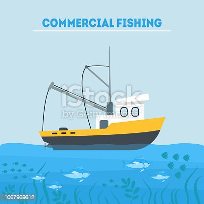 Cartoon Commercial Fishing Industry Card Poster Concept Element Flat Design Style. Vector illustration of Vessel in Sea