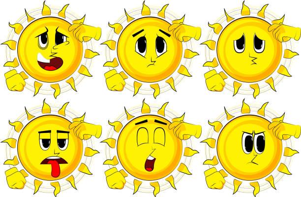 Dibujos animados de sol confundido. - ilustración de arte vectorial