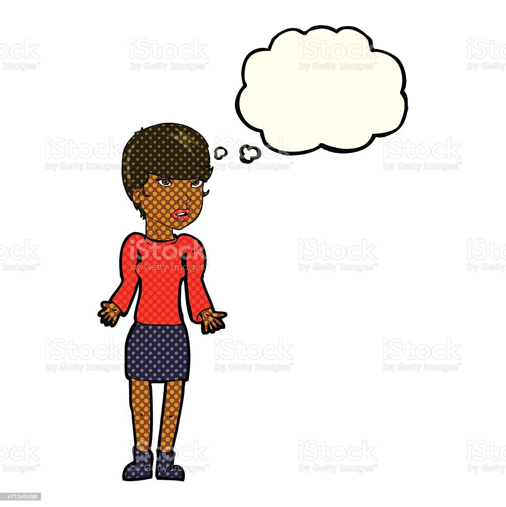 Cartoon Confused Woman With Thought Bubble Stock Vector Art More