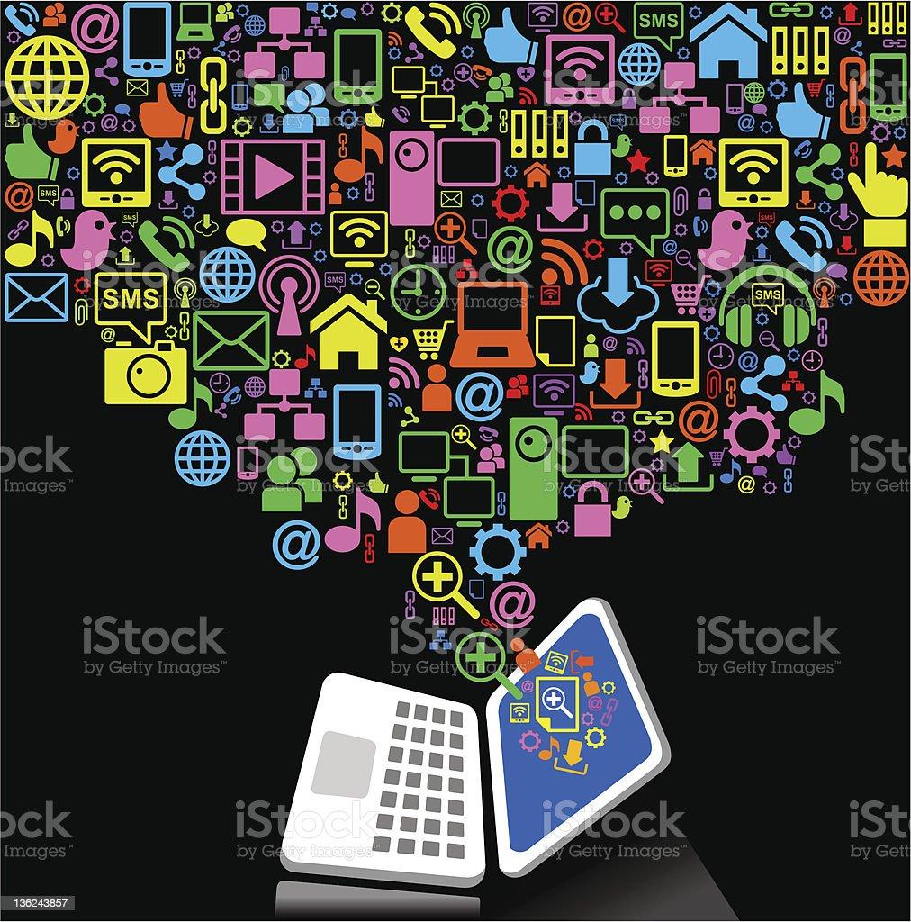 Cartoon connection laptop royalty-free stock vector art