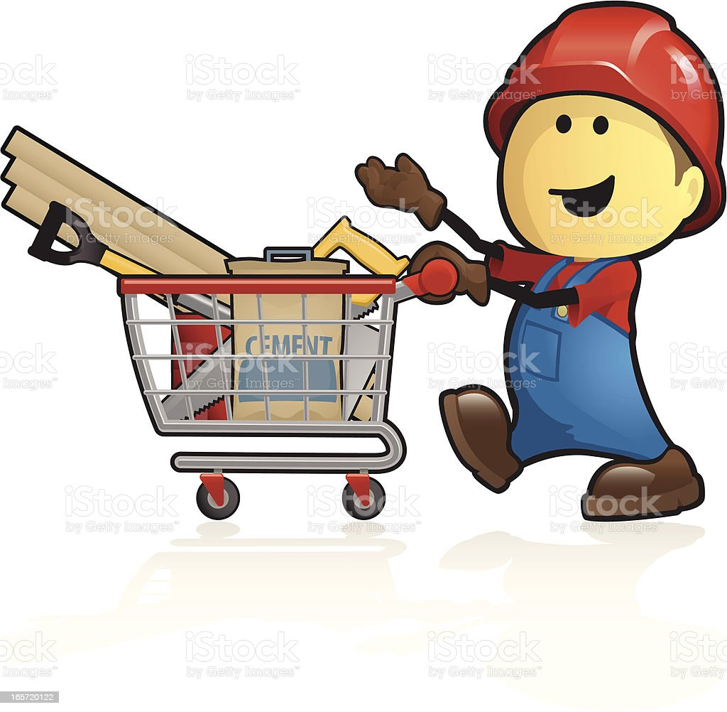 Cartoon construction supplies shopping royalty-free stock vector art