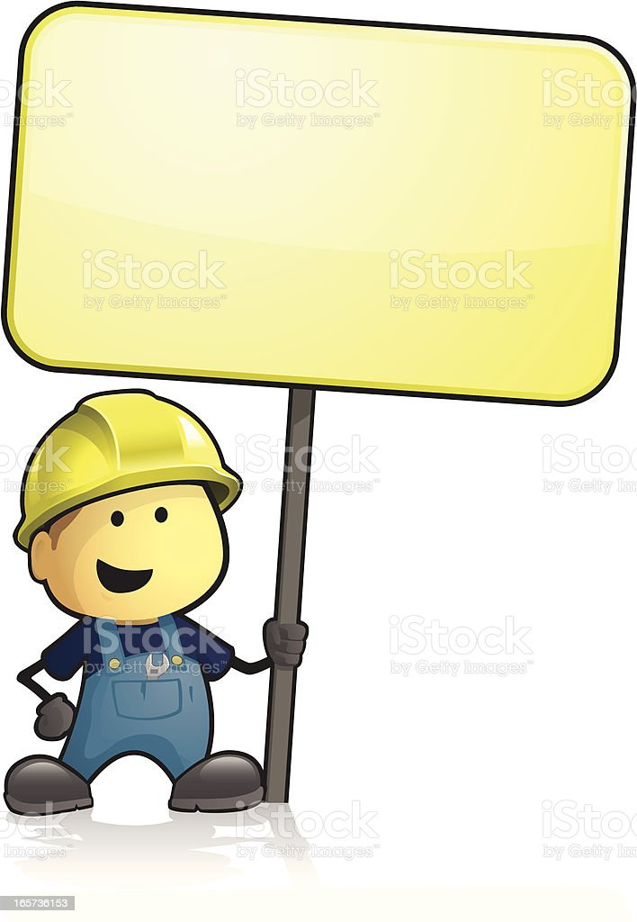 Cartoon construction worker holding a large sign royalty-free stock vector art