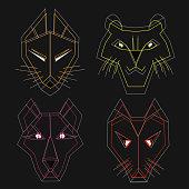 cartoon contour heads of wild animals, polygon origami style