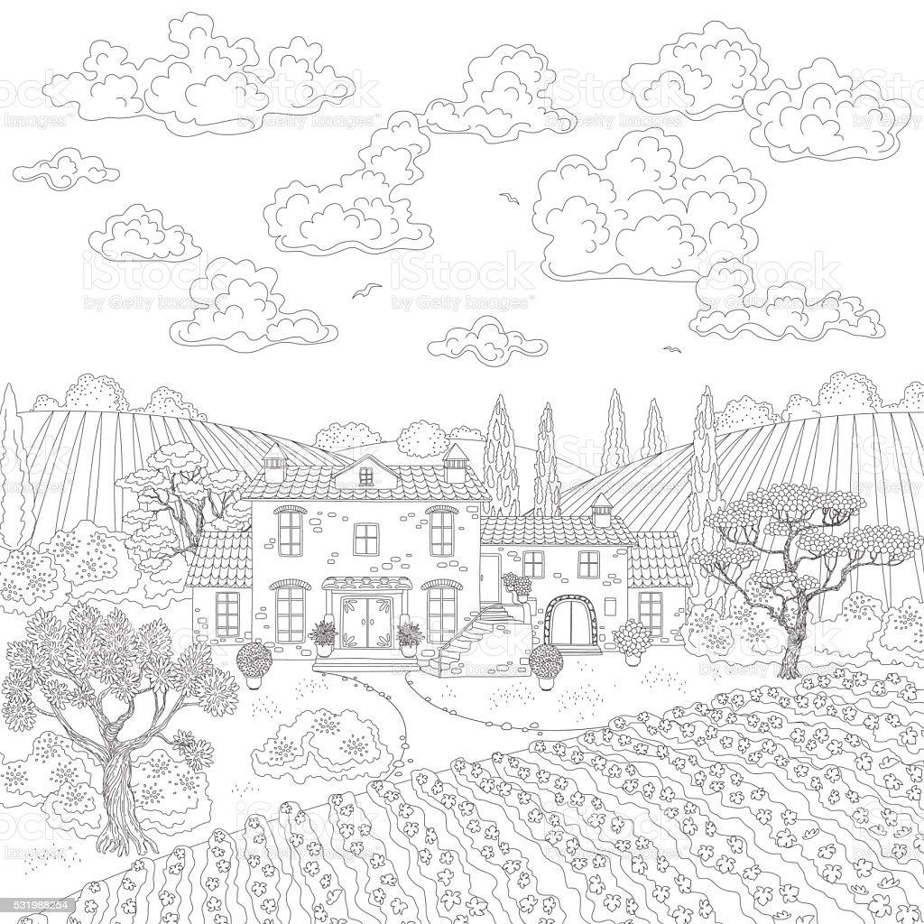 Profilée dessin paysage avec maison et arbres profilée dessin paysage avec maison et arbres vecteurs