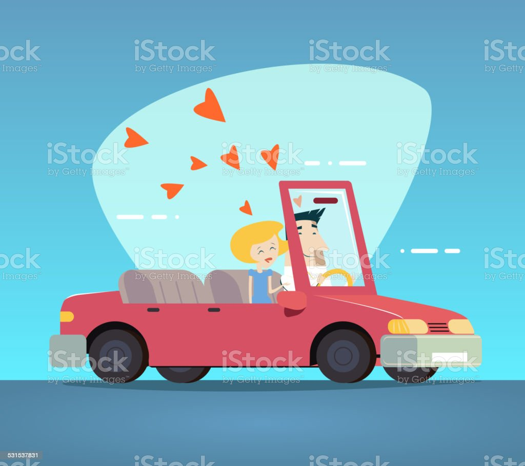 Cartoon Convertible Car Happy Male and Female Couple Love Characters vector art illustration