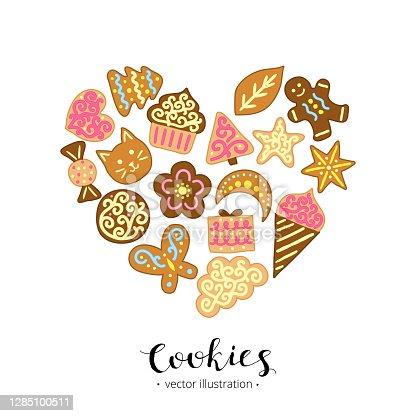 istock Cartoon cookies in heart shape. 1285100511