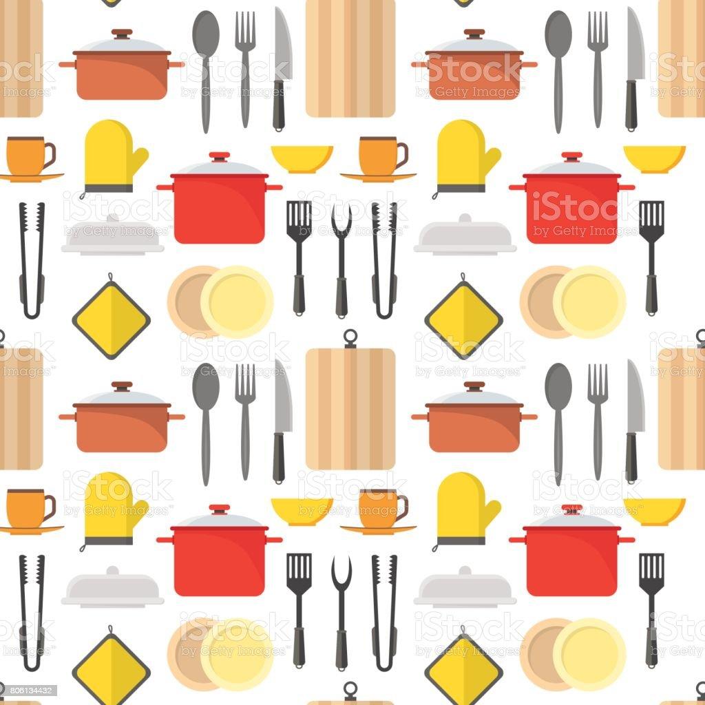 Patr n de fondo de dibujos animados utensilios de cocina for Utensilios de cocina fondo