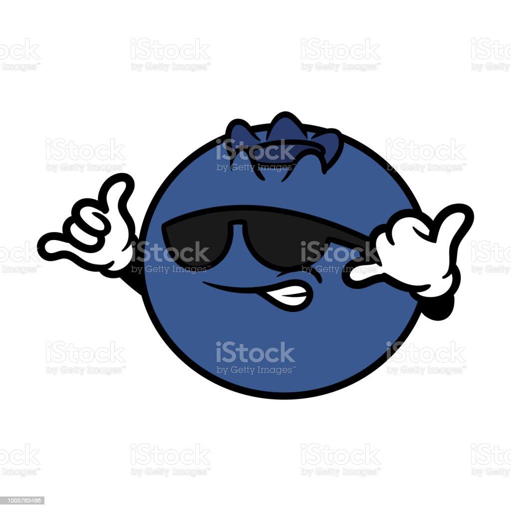 シャカの手サインで漫画のクールなブルーベリー キャラクター