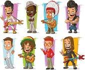 Cartoon cool funny different characters big vector set. Vol 1