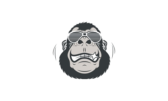 Cartoon Cool Gorilla Head Mascot