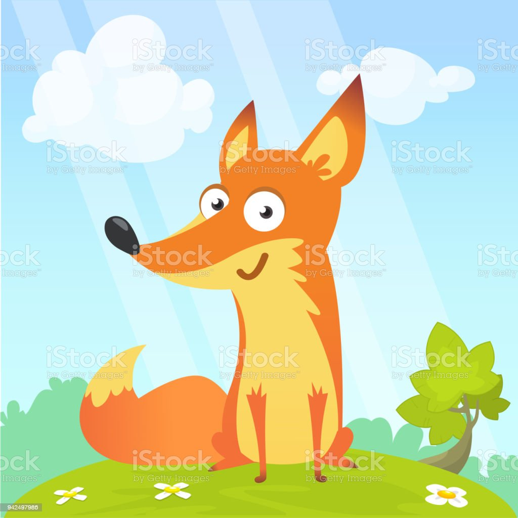 Cartoon Cool Little Fox Sitting On A Meadow In Summer Season Background With Flower And Mushrooms