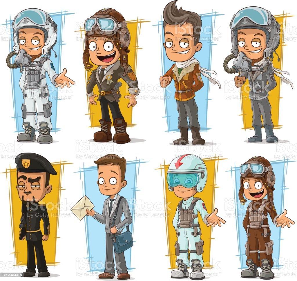 Cartoon cool pilot and postman character vector set