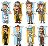 Cartoon cool pilot and postman character vector set