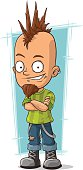 Cartoon cool punk with mohawk hairstyle