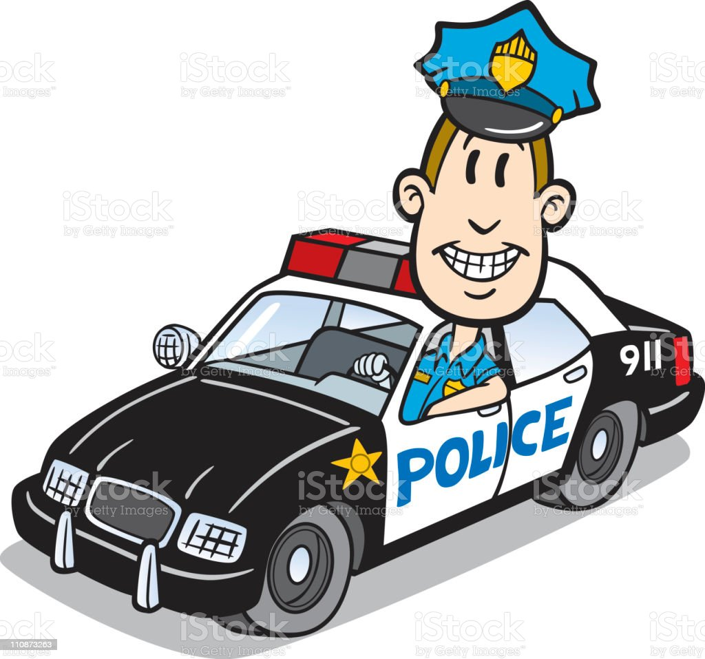 Cartoon Cop In Police Car vector art illustration