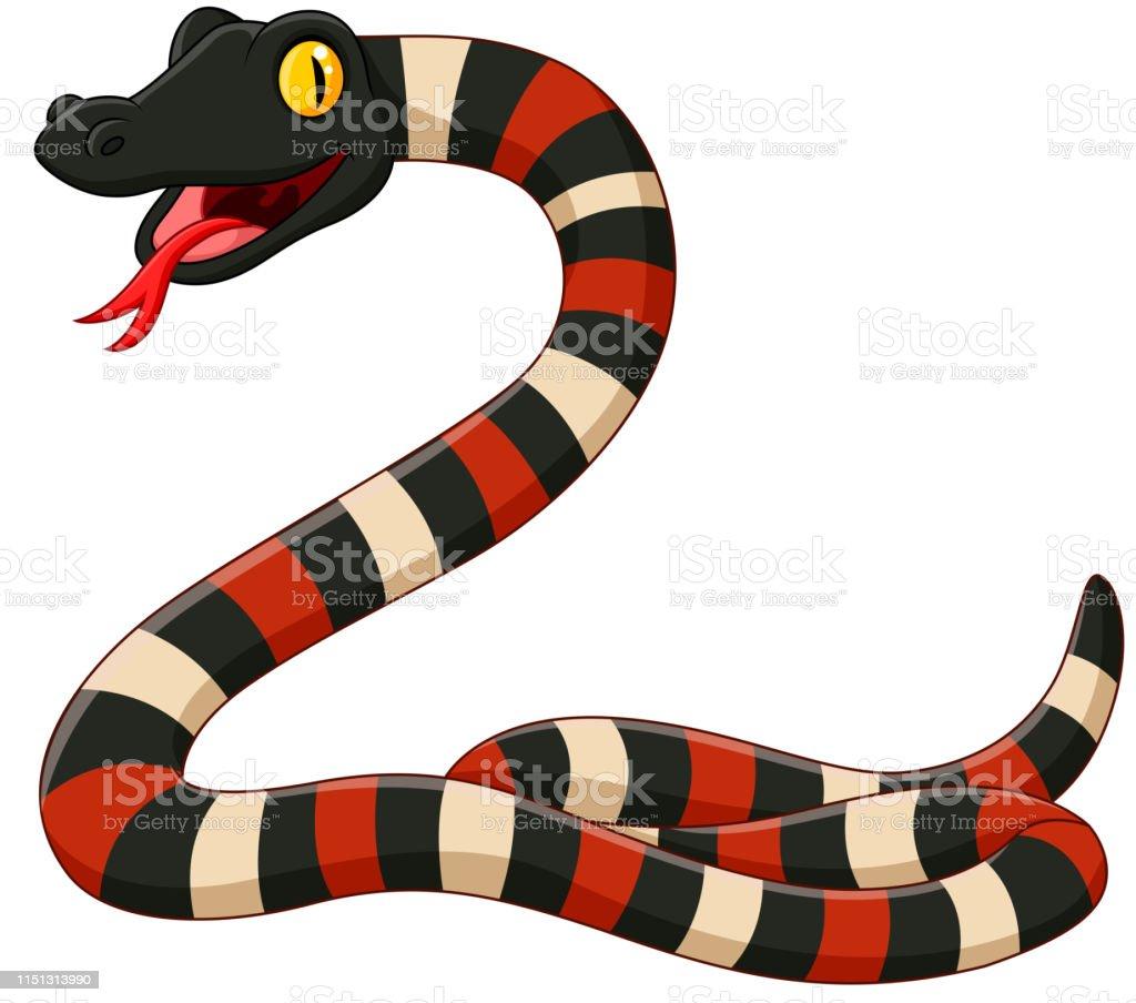 Ilustración De Serpiente De Coral De Dibujos Animados Sobre
