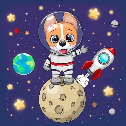 Cartoon Corgi astronaut on the moon on a space background