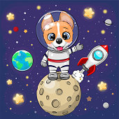 Cute Cartoon Corgi astronaut on the moon on a space background