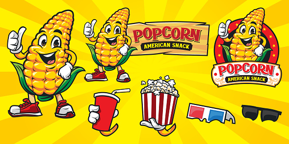 Set of cartoon corn and popcorn character with additional accesories