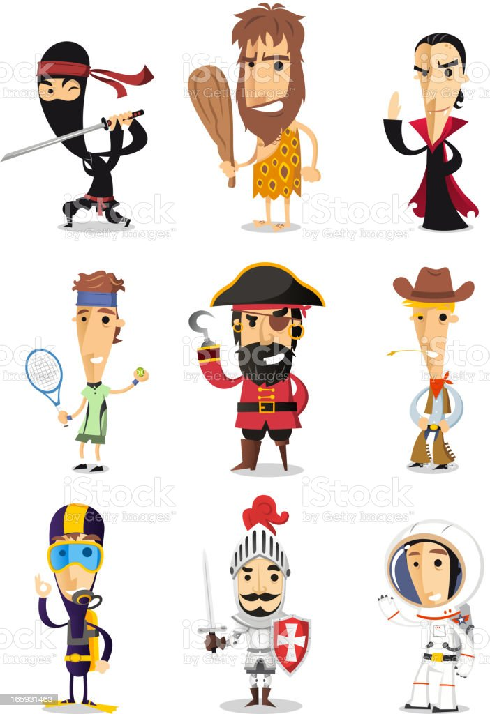 Cartoon Costumes ninja caveman vampire pirate cowboy diver knight astronaut vector art illustration