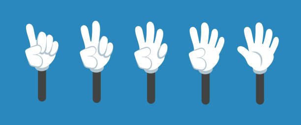 Cartoon counting hand with number gestures isolated set. Countdown with fingers vector symbols Cartoon counting hand with number gestures isolated set. Countdown with fingers vector symbols. Cartoon hand number fingers illustration counting stock illustrations