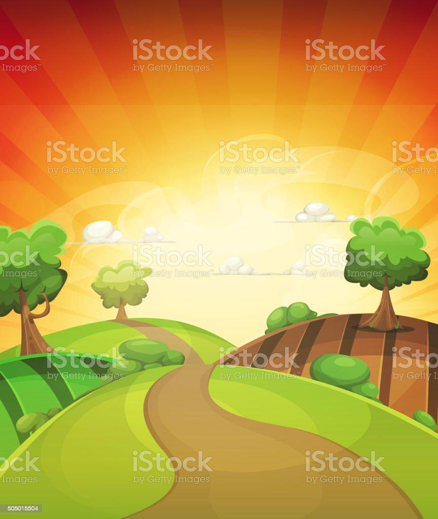 カットイラスト国の背景に春や夏の夕日 - アウトバックのベクターアート