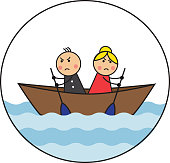 The cartoon couple is sitting in the dock and rowing in different directions. A picture symbolizes a dispute and the inability to accept the opinion of another person
