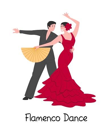 Cartoon couple dancing spanish flamenco, vector flat illustration on white background